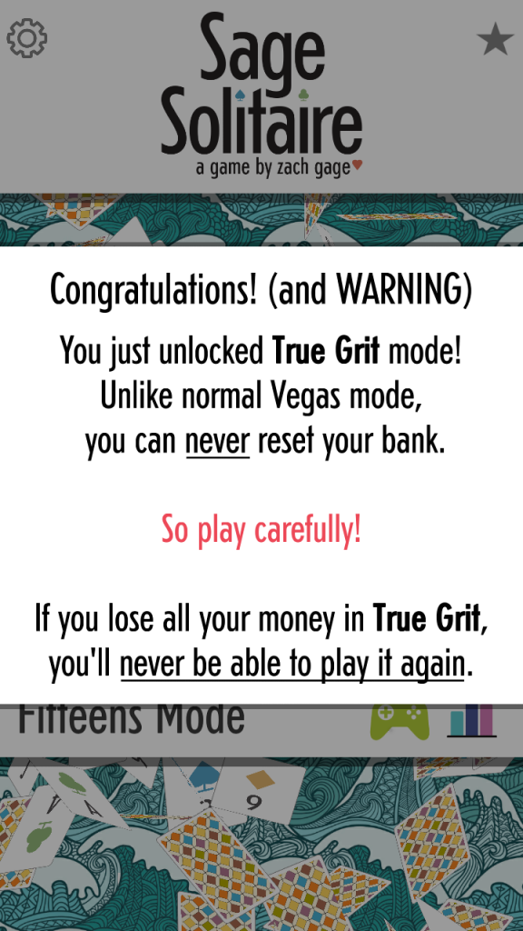 True Grit mode in Sage Solitaire
